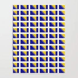Flag of Bosnia 2 – Bosnian,Bosniak,herzegovinian,bosna,Sarajevo,Balkan,yugoslavia. Poster