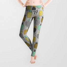 Pineapple Geometric on Grey Leggings