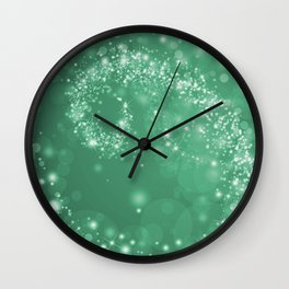 Elegant green white abstract starry Christmas pattern Wall Clock