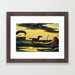 Classical Masterpiece 'The Race' - Horse and Train by Thomas Hart Benton Framed Art Print