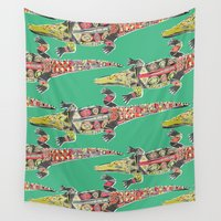 crocodile Wall Tapestries featuring crocodile green by Sharon Turner