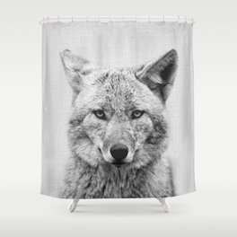 Coyote - Black & White Shower Curtain