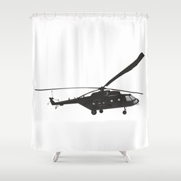 Black Russian Mi-171 Helicopter Shower Curtain