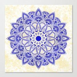 Blue Watercolor Mandala Canvas Print