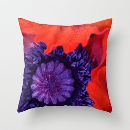 Super Macro Poppy Throw Pillow