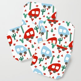 Camper Vans in Red and Blue with Green Cactus and Red Flowers Coaster