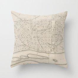 Vintage Map of St. Paul Minnesota (1860) Throw Pillow