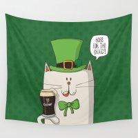 irish Wall Tapestries featuring Saint Patric's cat, Cat cartoon characters, Irish Cat cartoon, ZWD004 by ZeeWillDraw