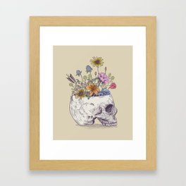 Half Skull Flowers Framed Art Print