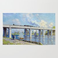 monet Area & Throw Rugs featuring Claude Monet - Bridge by Elegant Chaos Gallery