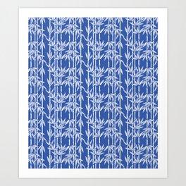 Bamboo Rainfall in China Blue/Seashell White Art Print
