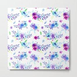 Watercolor Purple Floral Pattern Metal Print