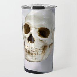 Human skull model in clamps for education Travel Mug