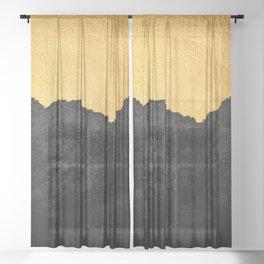Black Grunge & Gold texture Sheer Curtain