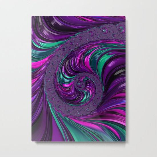 Jewel Tone Fractal Spiral Metal Print