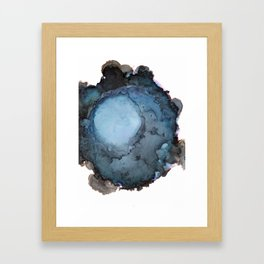 Black and Blue Vortex Ink Painting Framed Art Print