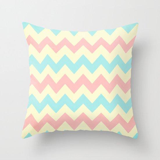 Summer Pink & Blue Chevron Throw Pillow