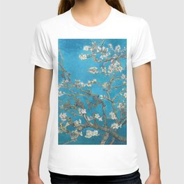 Vincent van Gogh Blossoming Almond Tree (Almond Blossoms) Medium Blue T-shirt
