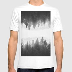Black and white foggy mirrored forest White MEDIUM Mens Fitted Tee