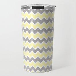 Grey Gray and Yellow Chevron Travel Mug