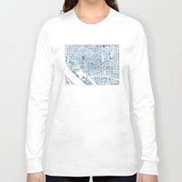 blueprint Long Sleeve T-shirts featuring Washington DC Blueprint watercolor map by Anne E. McGraw