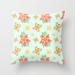 Colorful Flower Leaves Pattern Spring Face Mask Throw Pillow