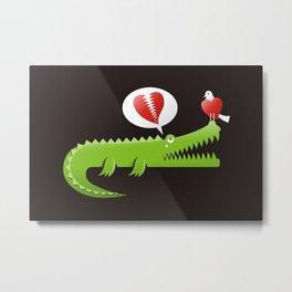 Alligator in Love Metal Print