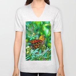 A Lazy Summertime Butterfly Unisex V-Neck