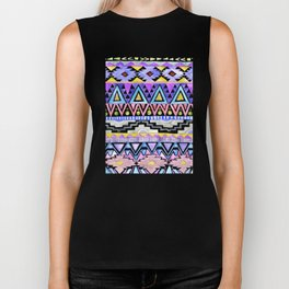 Watercolor Aztec Pattern violet Biker Tank