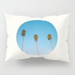 Mid Century Modern Round Circle Photo Minimalist Palm Trees Against Blue Sky Pillow Sham