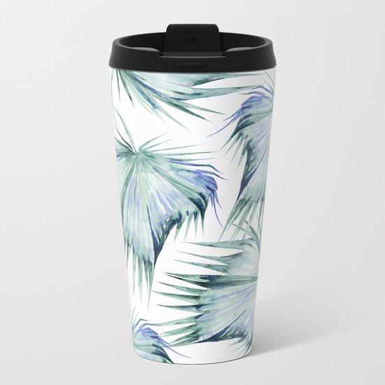 Floating Palm Leaves Metal Travel Mug