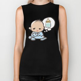 Baby boy Thinking of Milk Biker Tank