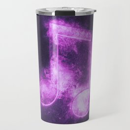 Beamed Eight music note symbol. Abstract night sky background Travel Mug