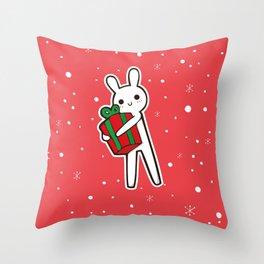 xmas bunny Throw Pillow
