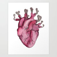 SMOKING HEART Art Print