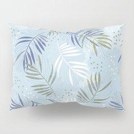 Pretty tropical Palm leaf pattern illustration - blue, kaki #tropicalart Pillow Sham