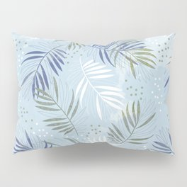 Pretty tropical Palm leaf pattern illustration - blue, kaki #tropicalart Pillow Sham
