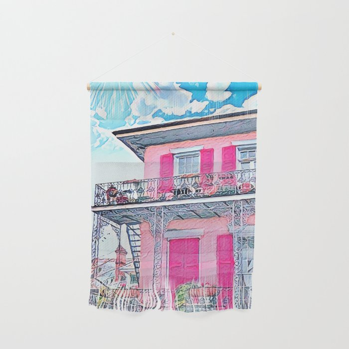 Watercolor Pink New Orleans French Quarter Nola Home Wall Hanging by on french quarter bedroom design, james island home design, french quarter building design, french quarter interior design, palm springs home design, french quarter patio design, french quarter garden design, old san juan home design, french quarter home decor, lakeview home design, new orleans home design, lakeside home design, french quarter home interiors,