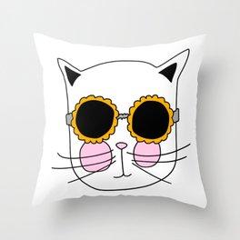 Cat Sunflower Glasses Throw Pillow