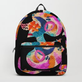 pattern with embroidered lilies Backpack