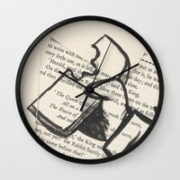 mad hatter Wall Clocks featuring Mad Hatter by Jordan Arp