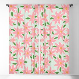 Pretty Hand Paint Pink Daisy Flowers Mint Design Blackout Curtain