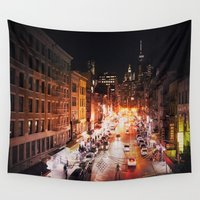 broadway Wall Tapestries featuring NYC Night by Vivienne Gucwa