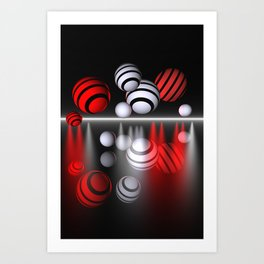 spotlights white and red Art Print