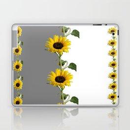 LINEAR YELLOW SUNFLOWERS GREY & WHITE ART Laptop & iPad Skin