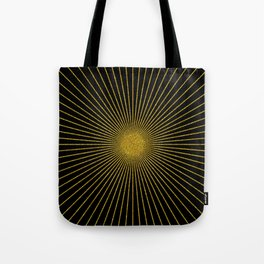Black and gold glitter sun rays, gold glitter abstract geometry Tote Bag