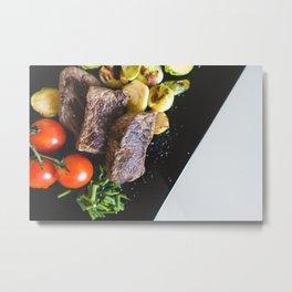 Beef Steaks With Vegetables Metal Print