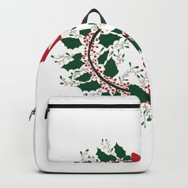 Mistletoe and Holly Wreath Backpack