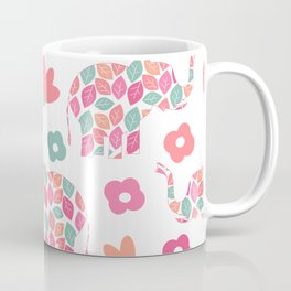 cute colorful abstract pattern background with leaves elephants and flowers Coffee Mug