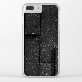 white speckled contrasted bricks - black and white Clear iPhone Case